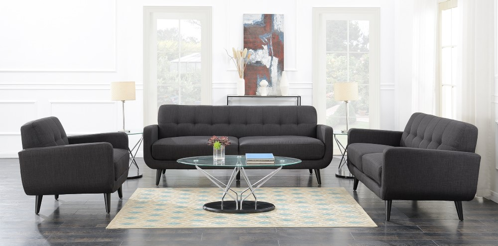 Picket House Furnishings - Hailey 3Pc Sofa Set in Charcoal - UHD0903PC