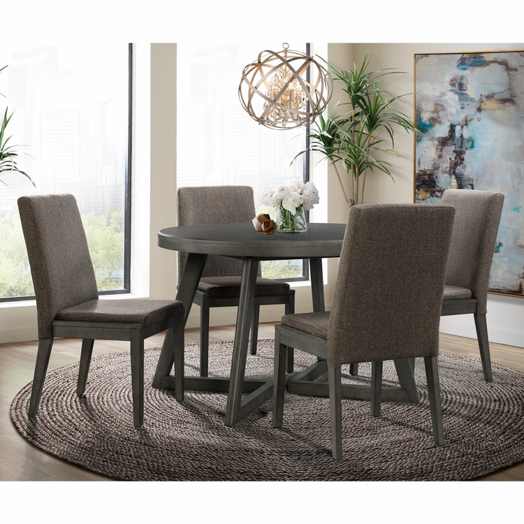 Picket House Furnishings - Hudson Round 5Pc Dining Set Table And Four Chairs in Gray - DCR5005PC