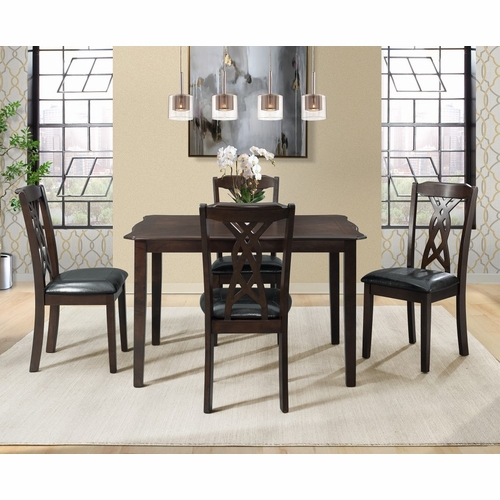 Picket House Furnishings - Jones 5Pc Dining Set Table And 4 Chairs in Dark Espresso - DAM1005DS