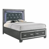 Picket House Furnishings - Kenzie King Tufted Upholstered Storage Bed in Gray - TT100KB