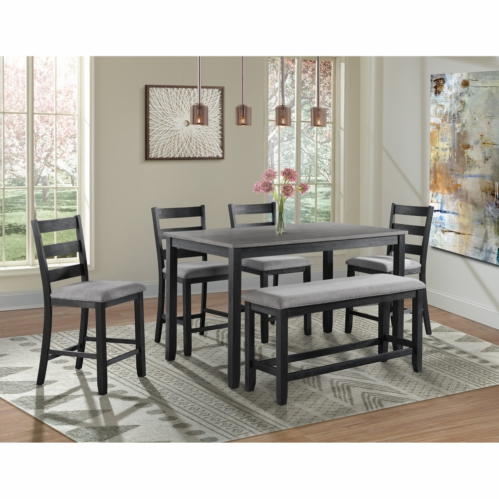 Super Picket House Furnishings Kona Counter Height 6Pc Dining Set Table Four Chairs Bench Dmt3006Cs Gmtry Best Dining Table And Chair Ideas Images Gmtryco
