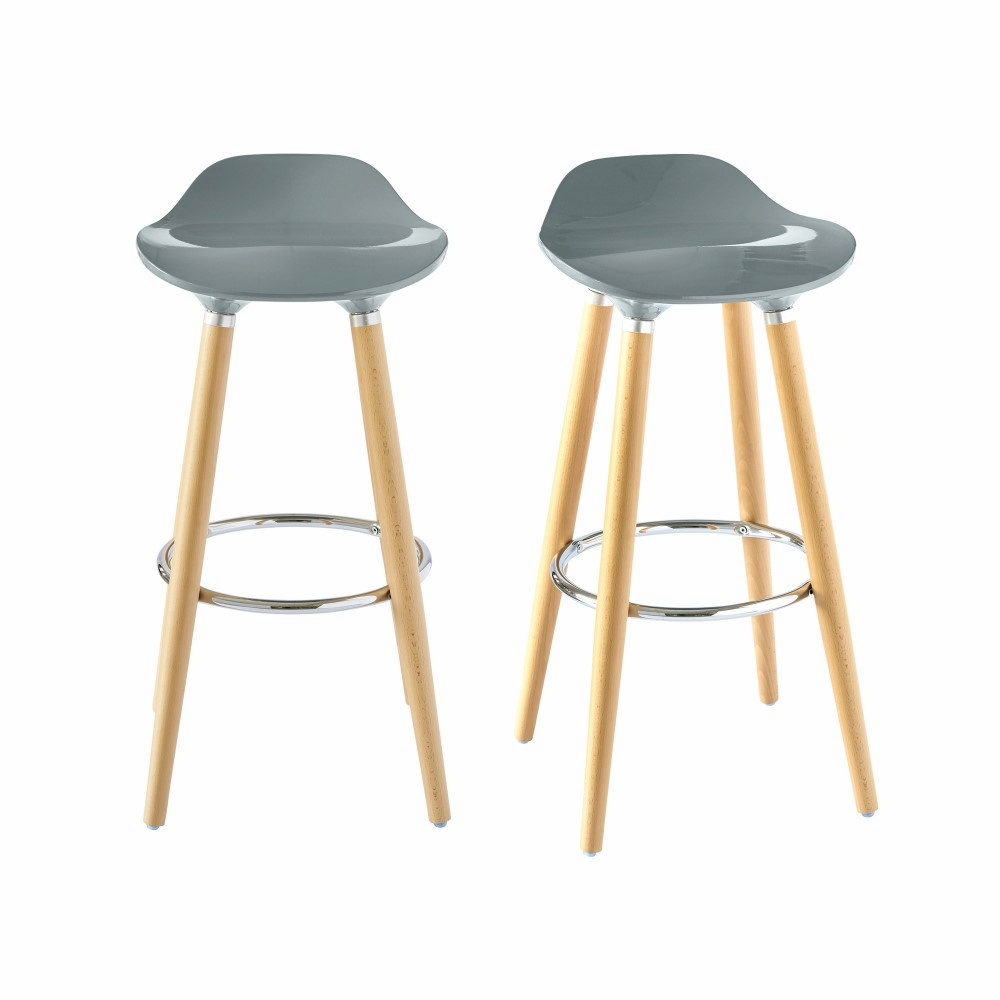 Awe Inspiring Picket House Furnishings Leo Low Back Bar Stool Set Of 2 In Gray Bdl900Bse Andrewgaddart Wooden Chair Designs For Living Room Andrewgaddartcom