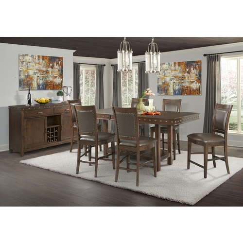 Picket House Furnishings - Pruitt Counter 8PC Dining Set-Table, 6 Counter Side Chairs & Server - DPS100SS8PC