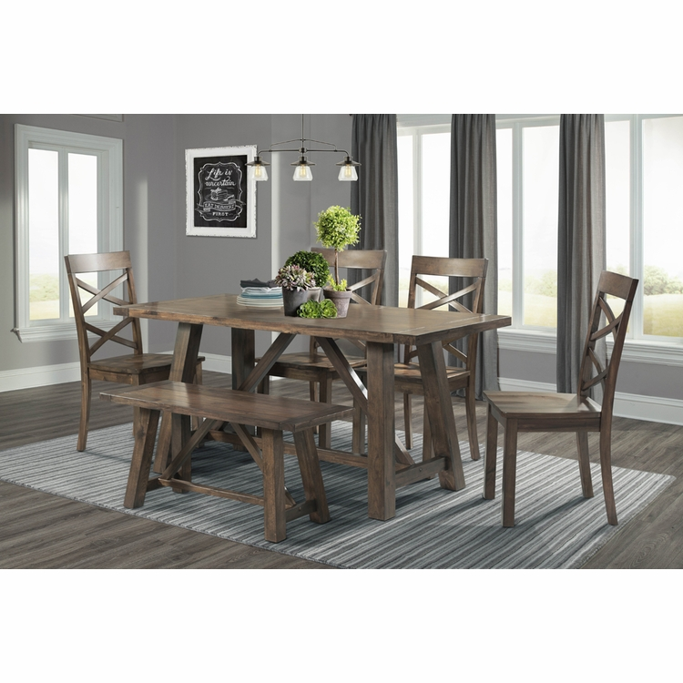 Picket House Furnishings - Regan 6PC Dining Set-Table, 4 Side Chairs & Bench - DRN1006DS