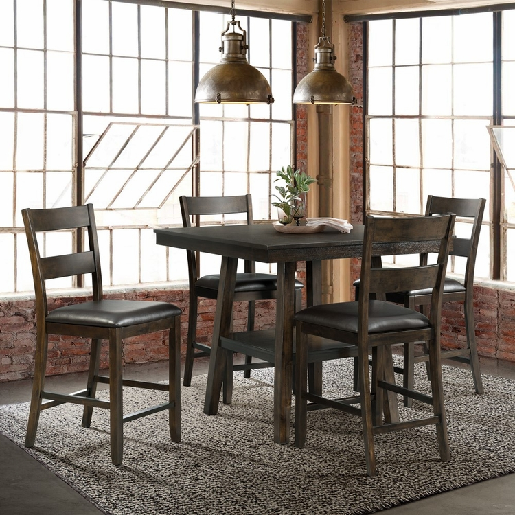 Picket House Furnishings - Reid 5Pc Counter Height Dining Set Table And Four Chairs in Dark Walnut - DLD5005CS