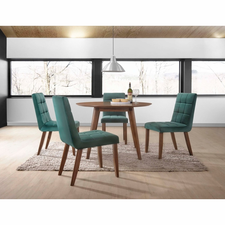 Picket House Furnishings - Rosie 5Pc Dining Set Table And Four Green Tufted Side Chairs in Walnut - DRB500TGN5PC