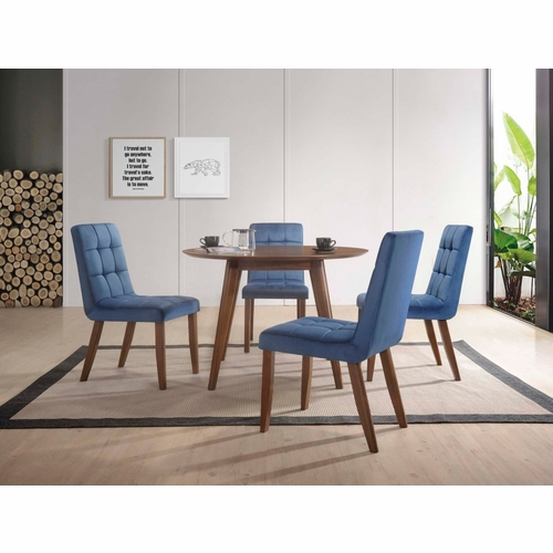 Picket House Furnishings - Rosie 5Pc Dining Set Table And Four Navy Tufted Side Chairs in Walnut - DRB500TNB5PC