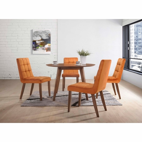 Picket House Furnishings - Rosie 5Pc Dining Set Table And Four Orange Tufted Side Chairs in Walnut - DRB500TOG5PC