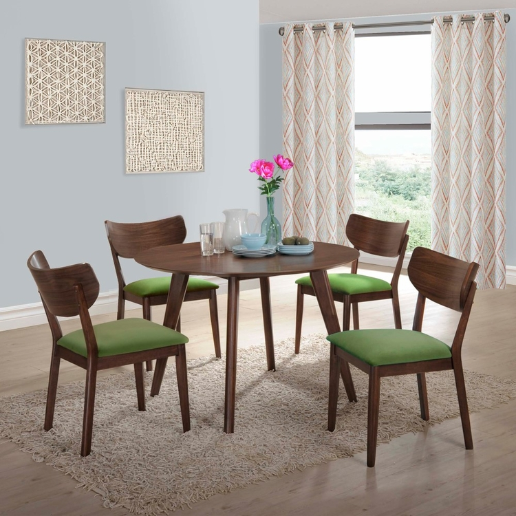 Picket House Furnishings - Rosie 5Pc Dining Set With Green Chairs in Walnut Green - DRB500GN5PC
