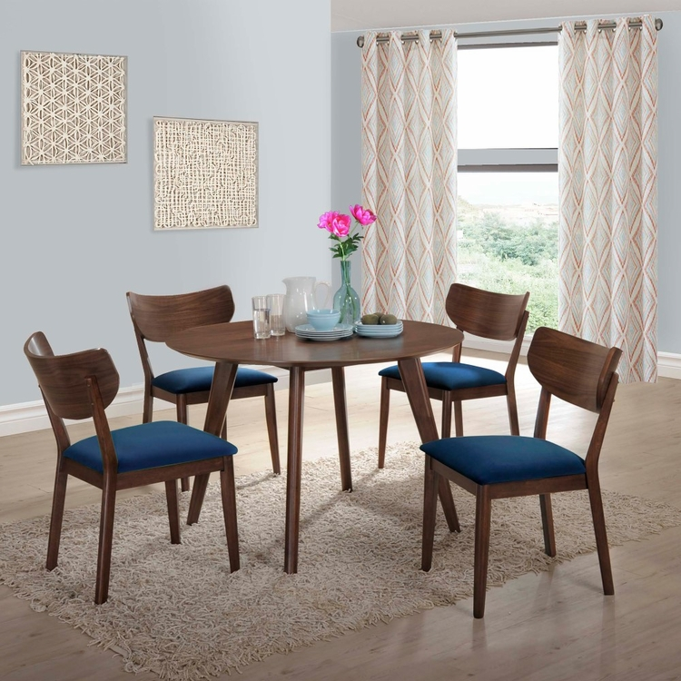 Picket House Furnishings - Rosie 5Pc Dining Set With Navy Blue Chairs in Walnut Navy Blue - DRB500NB5PC