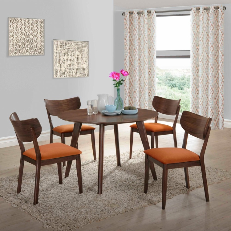 Picket House Furnishings - Rosie 5Pc Dining Set With Orange Chairs in Walnut Orange - DRB500OG5PC