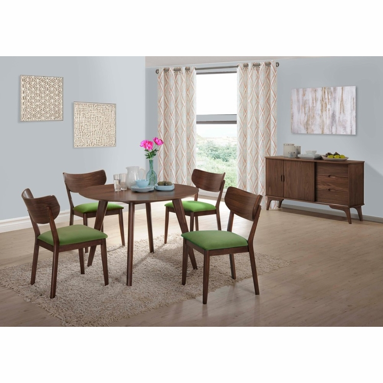 Picket House Furnishings - Rosie 6Pc Dining Set With Green Chairs in Walnut Green - DRB500GN6PC