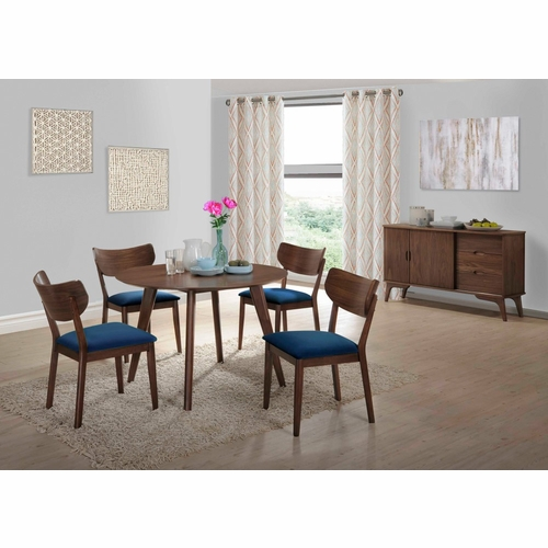 Picket House Furnishings - Rosie 6Pc Dining Set With Navy Blue Chairs in Walnut Navy Blue - DRB500NB6PC