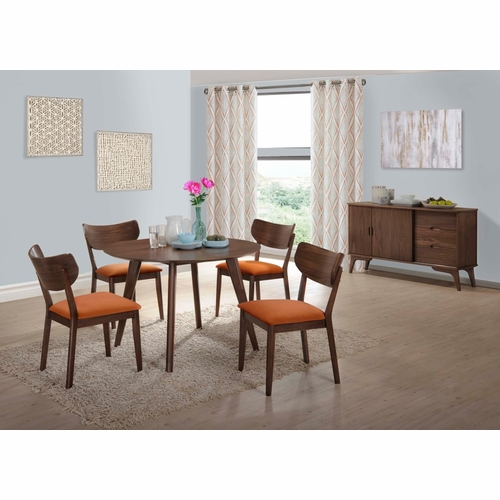Picket House Furnishings - Rosie 6Pc Dining Set With Orange Chairs in Walnut Orange - DRB500OG6PC