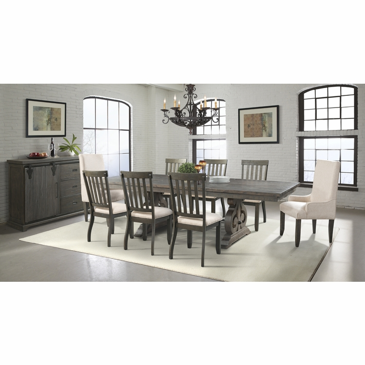 Picket House Furnishings - Stanford Dining Table, 6 Side Chairs, 2 Parson Chairs & Server - DST100SPS10PC