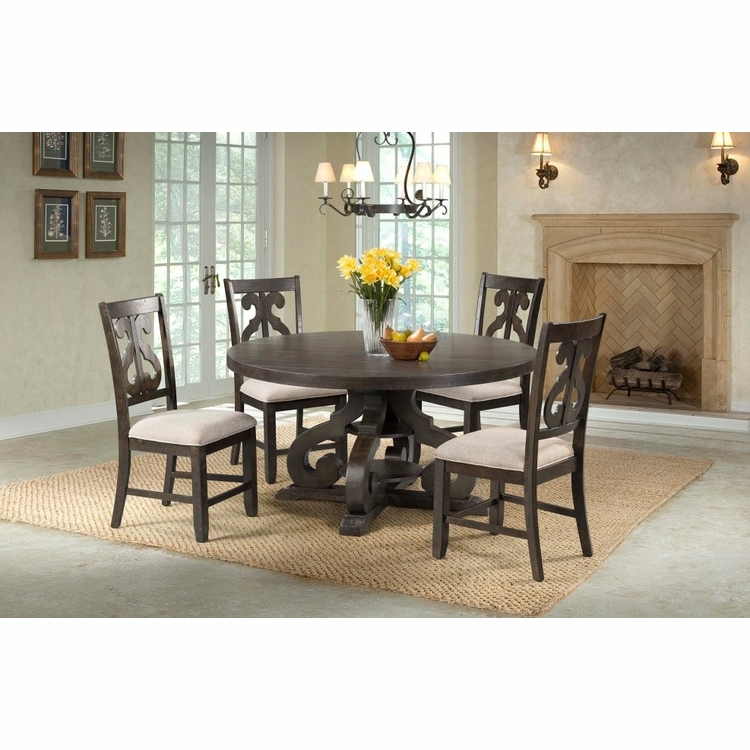 Picket House Furnishings - Stanford Round 5Pc Dining Set Round Table And 4 Chairs in Smokey Walnut - DST1805PC