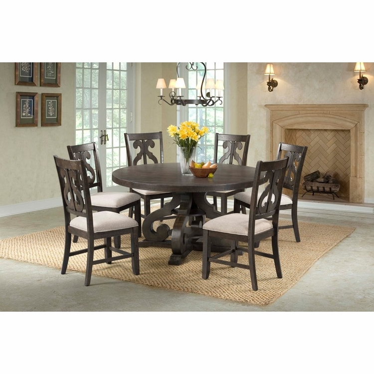 Picket House Furnishings - Stanford Round 7Pc Dining Set Round Table And 6 Chairs in Smokey Walnut - DST1807PC