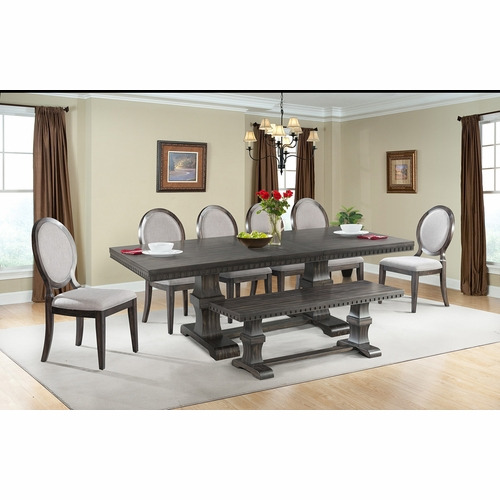 Picket House Furnishings - Steele 8PC Dining Set- Table, 6 Round Fabric Chairs & Bench - DMO100RFB8PC