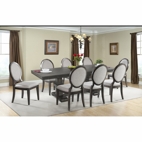 Picket House Furnishings - Steele 9PC Dining Set- Table & 8 Round Fabric Chairs - DMO100RFSC9PC