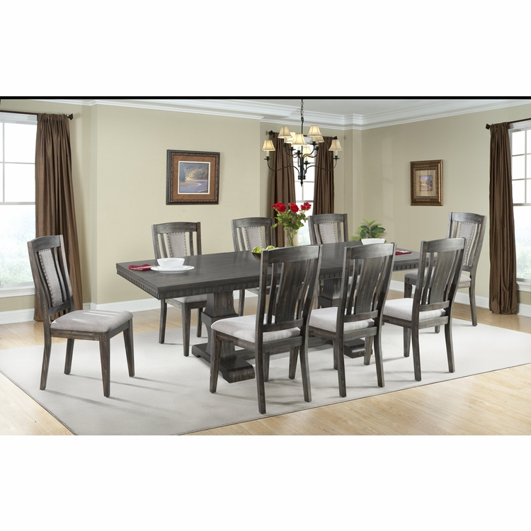 Picket House Furnishings - Steele 9PC Dining Set- Table & 8 Wooden Chairs - DMO100WSC9PC