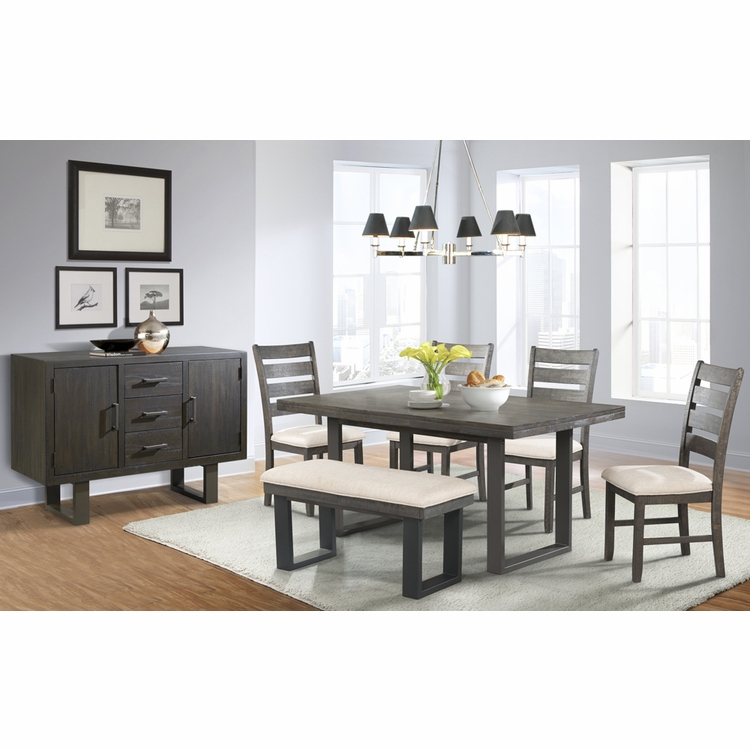 Picket House Furnishings - Sullivan Dining Table, 4 Side Chairs, Bench & Server - DSW100SBS7PC