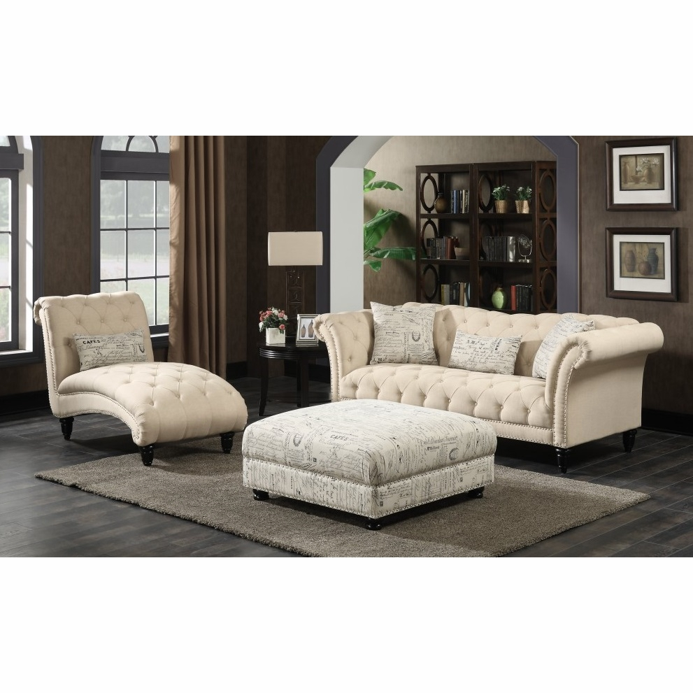 Picket House Furnishings - Twine 3Pc Sofa Set Sofa Chaise And Ottoman in  Natural - UTW082SCO3PC