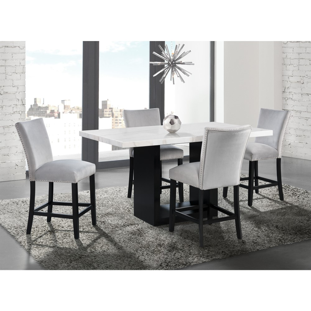 Picket House Furnishings Willow White Marble 5pc Counter Height Dining Set Table And Four Gray Velvet Chairs Cvl300c5pc