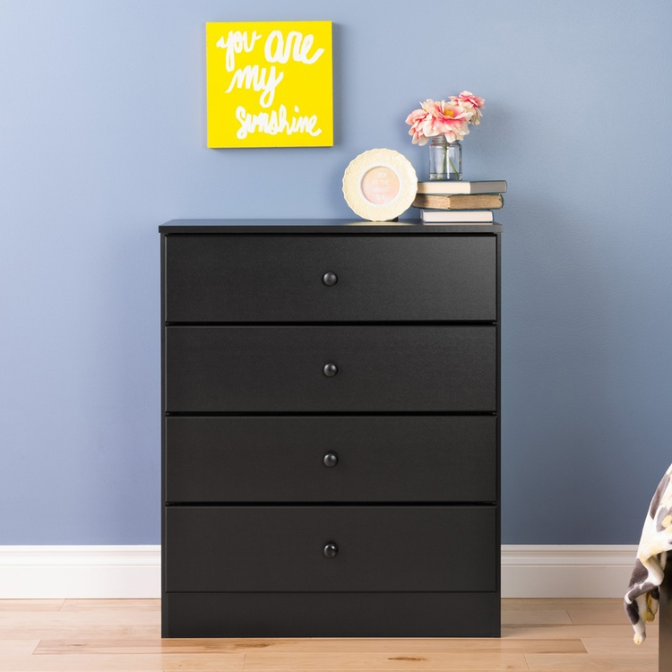 Prepac - Astrid 4 Drawer Dresser In Black - BDBR-0401-1