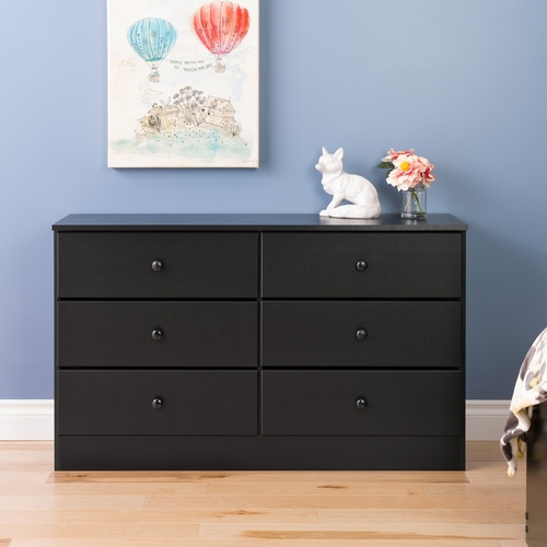 Prepac - Astrid 6 Drawer Dresser In Black - BDBR-0402-1
