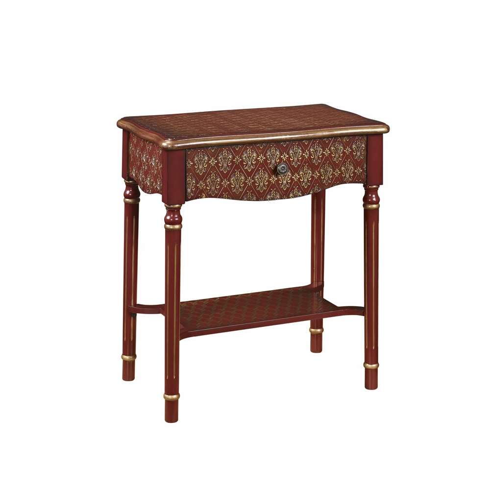 Terrific Pulaski Drawer Accent Table In Red And Gold Asian Influence Ds 2253850 Rd Short Links Chair Design For Home Short Linksinfo