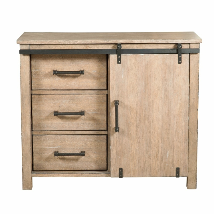 Pulaski - Farmhouse Style Distressed Driftwood Sliding Door Accent Storage Chest - DS-D153-012