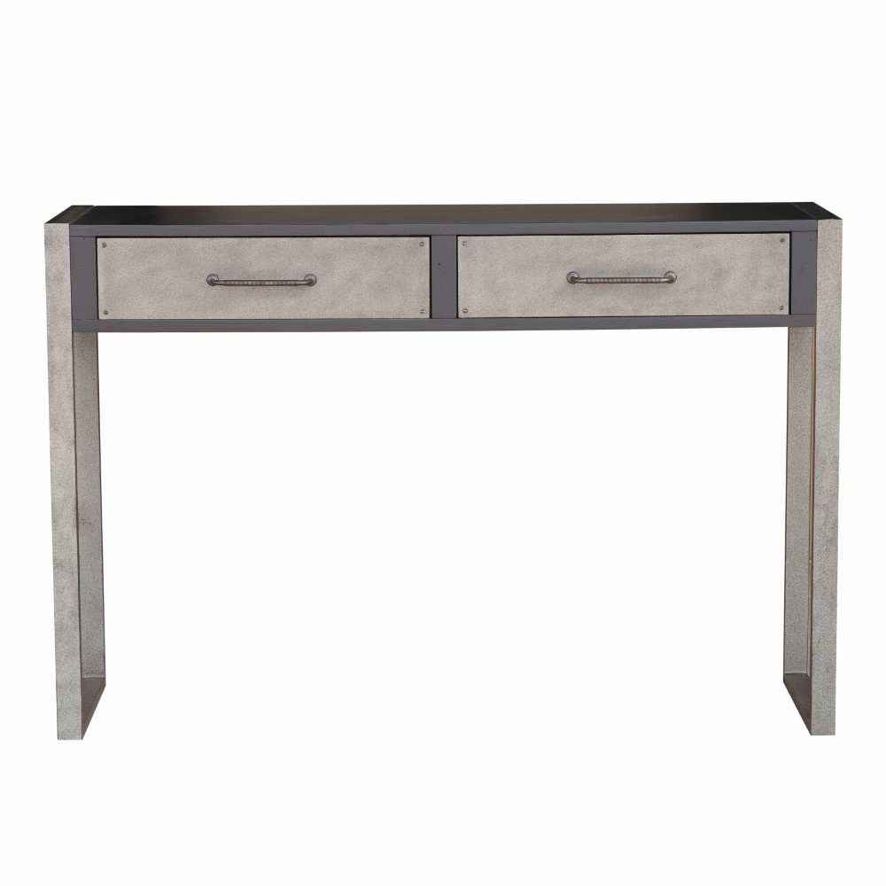 Ski Distressed Black Birch Two Drawer Accent Storage Console Table Ds D153 106