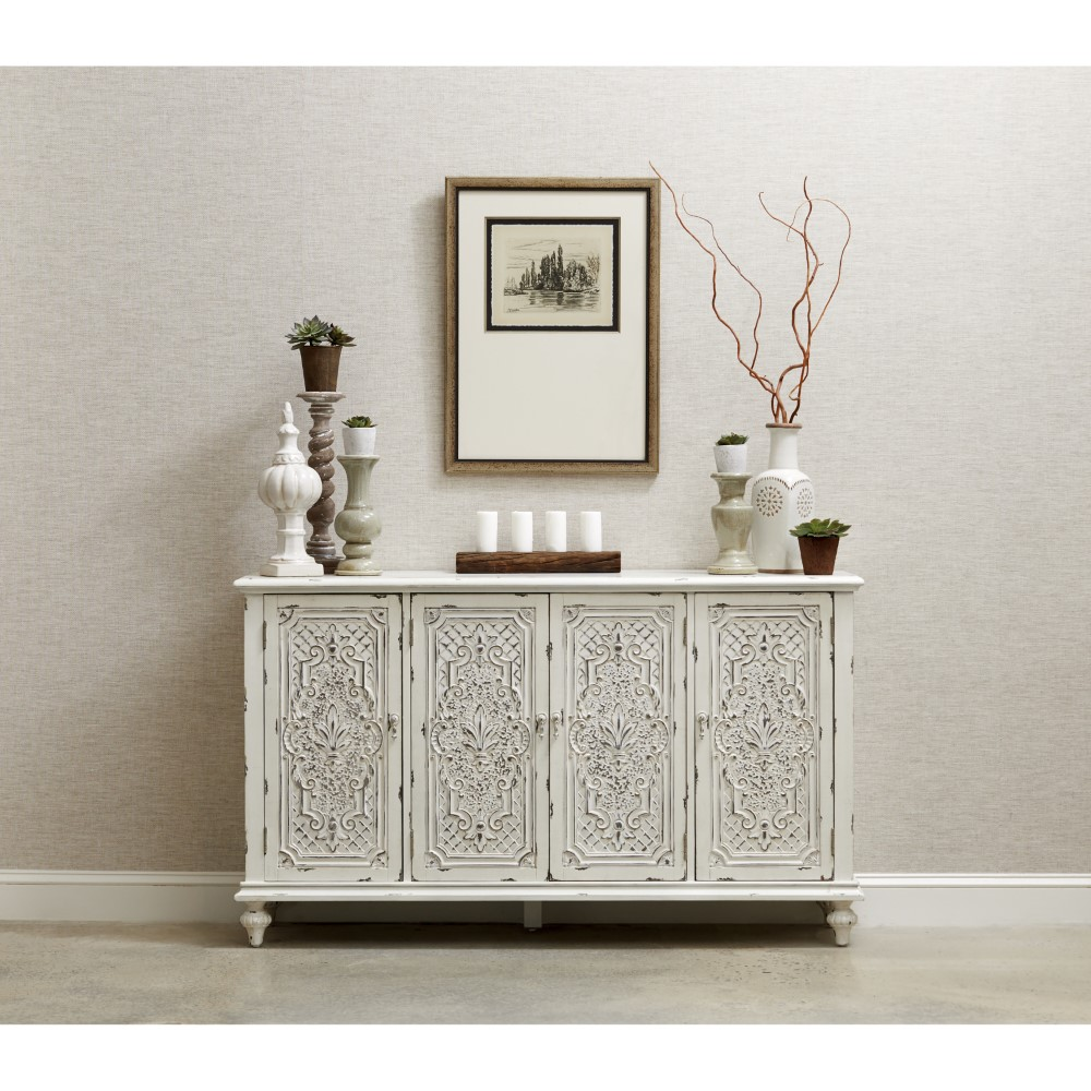 Pulaski - Ornate Four Door White Credenza