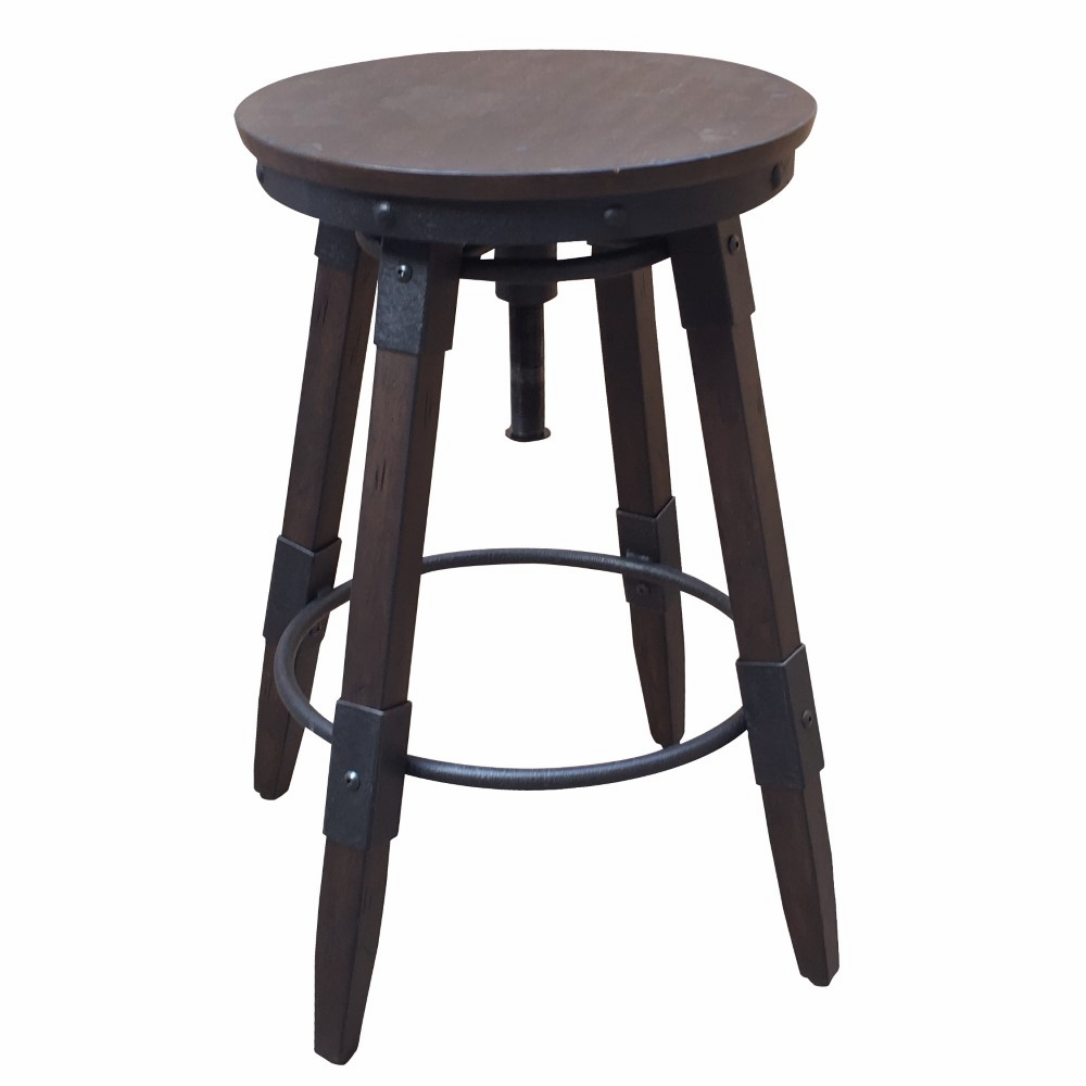 Awe Inspiring Pulaski Vintage Industrial Style Swivel Backless Barstool In Distressed Chocolate Ds D167 501B Caraccident5 Cool Chair Designs And Ideas Caraccident5Info