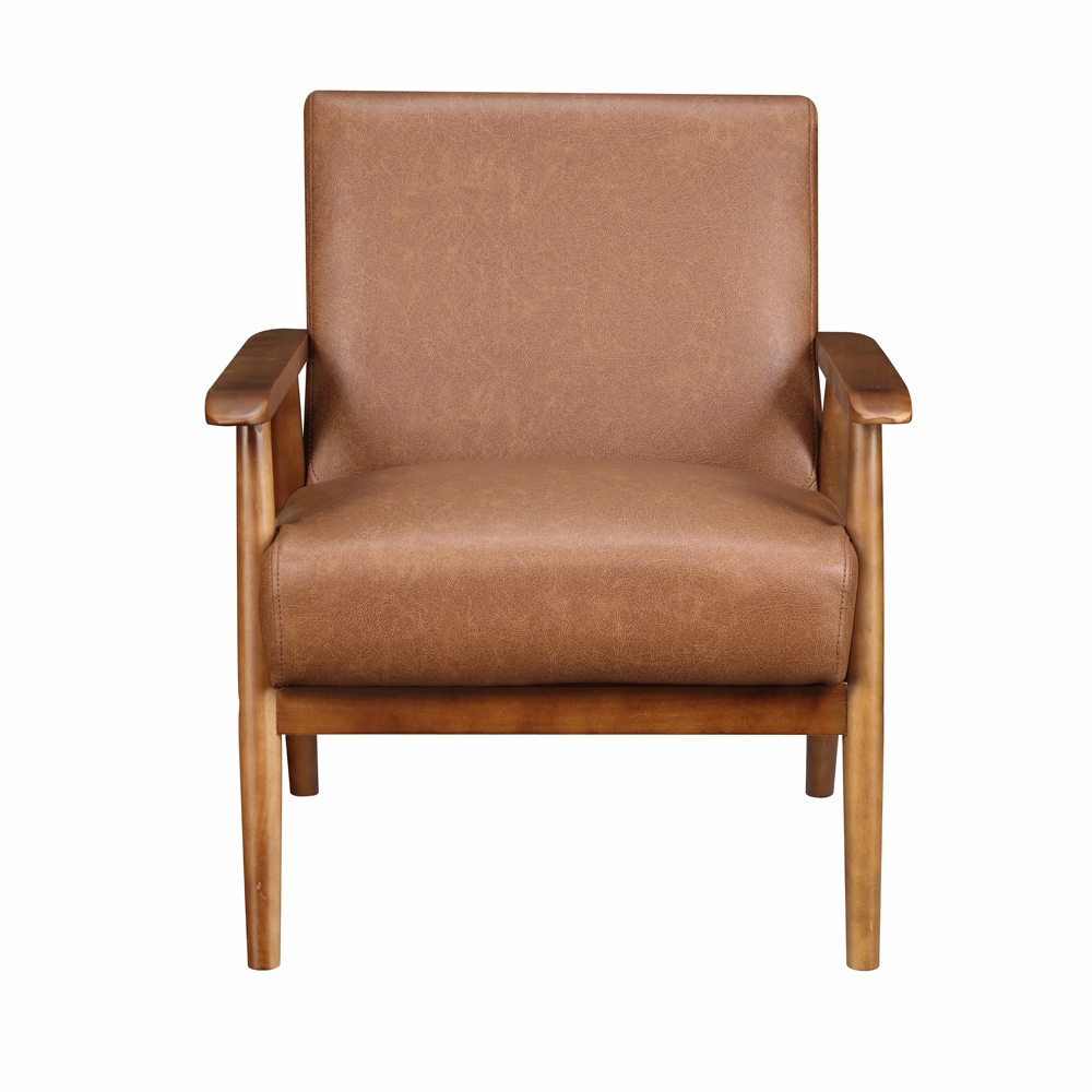 Enjoyable Pulaski Wood Frame Faux Leather Accent Chair In Lummus Cognac Ds D030003 460 Ocoug Best Dining Table And Chair Ideas Images Ocougorg