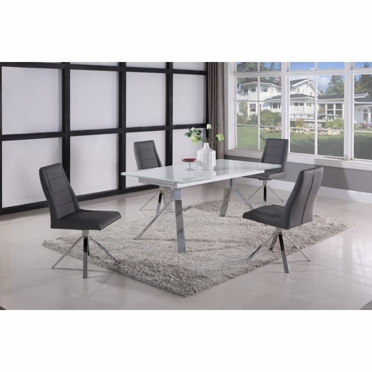 Chintaly - Dana 5 Pieces Dining Set Table With 4 Side Chairs In Grey - DANA-5PC-GRY