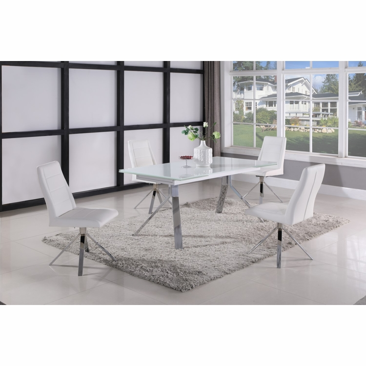 Chintaly - Dana 5 Pieces Dining Set Table With 4 Side Chairs In White - DANA-5PC-WHT