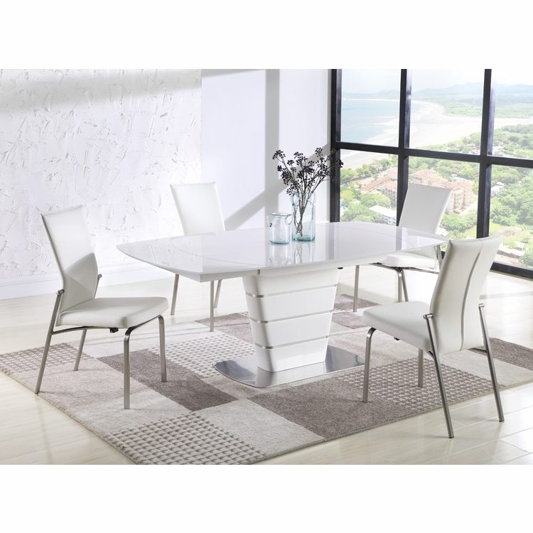 Chintaly - Charlotte 5 Pieces Dining Set Table With 4 Molly Side Chairs - CHARLOTTE-MOLLY-SC-WHT-BS