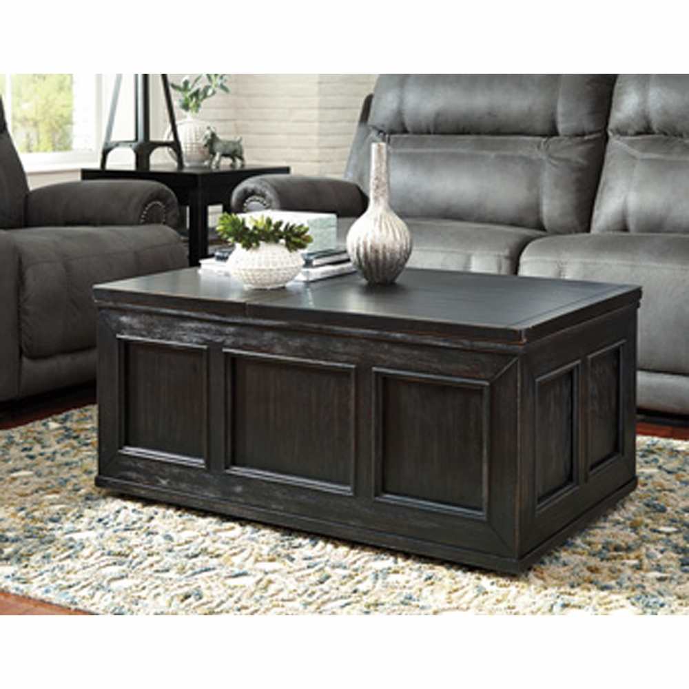 Signature Design By Ashley Gavelston Rubbed Black Lift Top