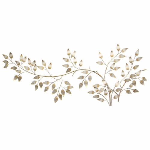 Stratton Home Decor - Brushed Gold Flowing Leaves Wall Decor  - SHD0106