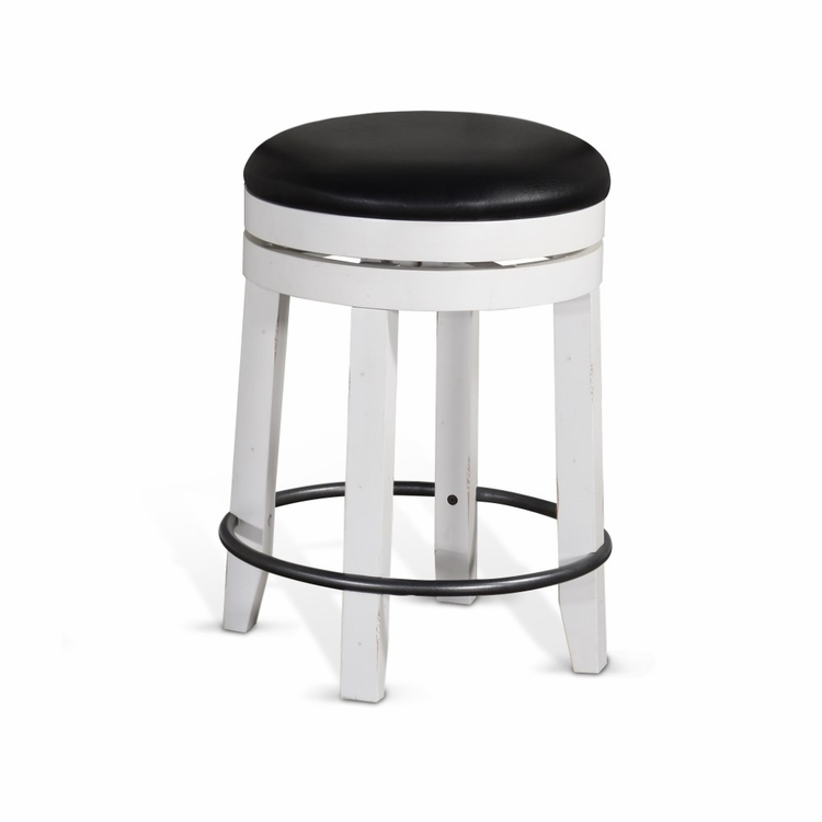 "Sunny Designs - Carriage House 24""H Swivel Stool with Cushion Seat in White & Dark Brown - 1624EC-24"