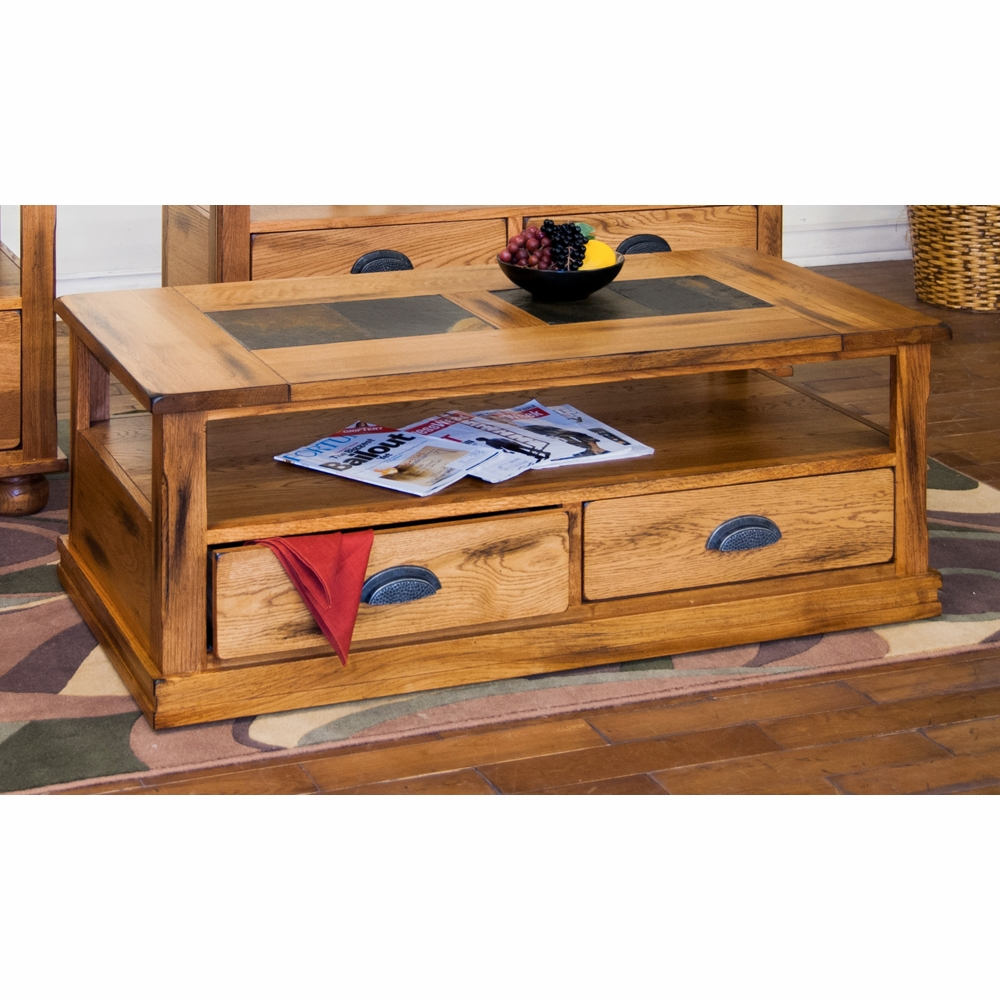 Slate Coffee Table With Drawers: Sedona Coffee Table W/ Drawers & Casters