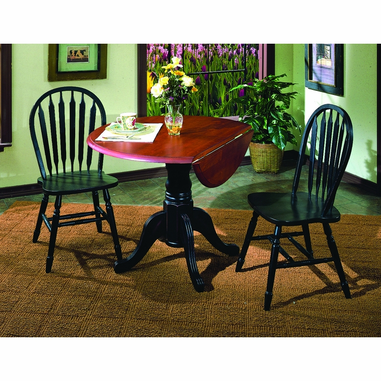 """Sunset Trading - 3 Piece 42"""" Round Drop Leaf Dining Set with Arrowback Chairs - DLU-TPD4242-820-AB3PC"""