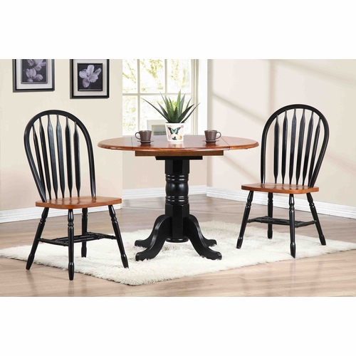 """Sunset Trading - 3 Piece 42"""" Round Drop Leaf Dining Set with Arrowback Chairs - DLU-TPD4242-820-BCH3PC"""