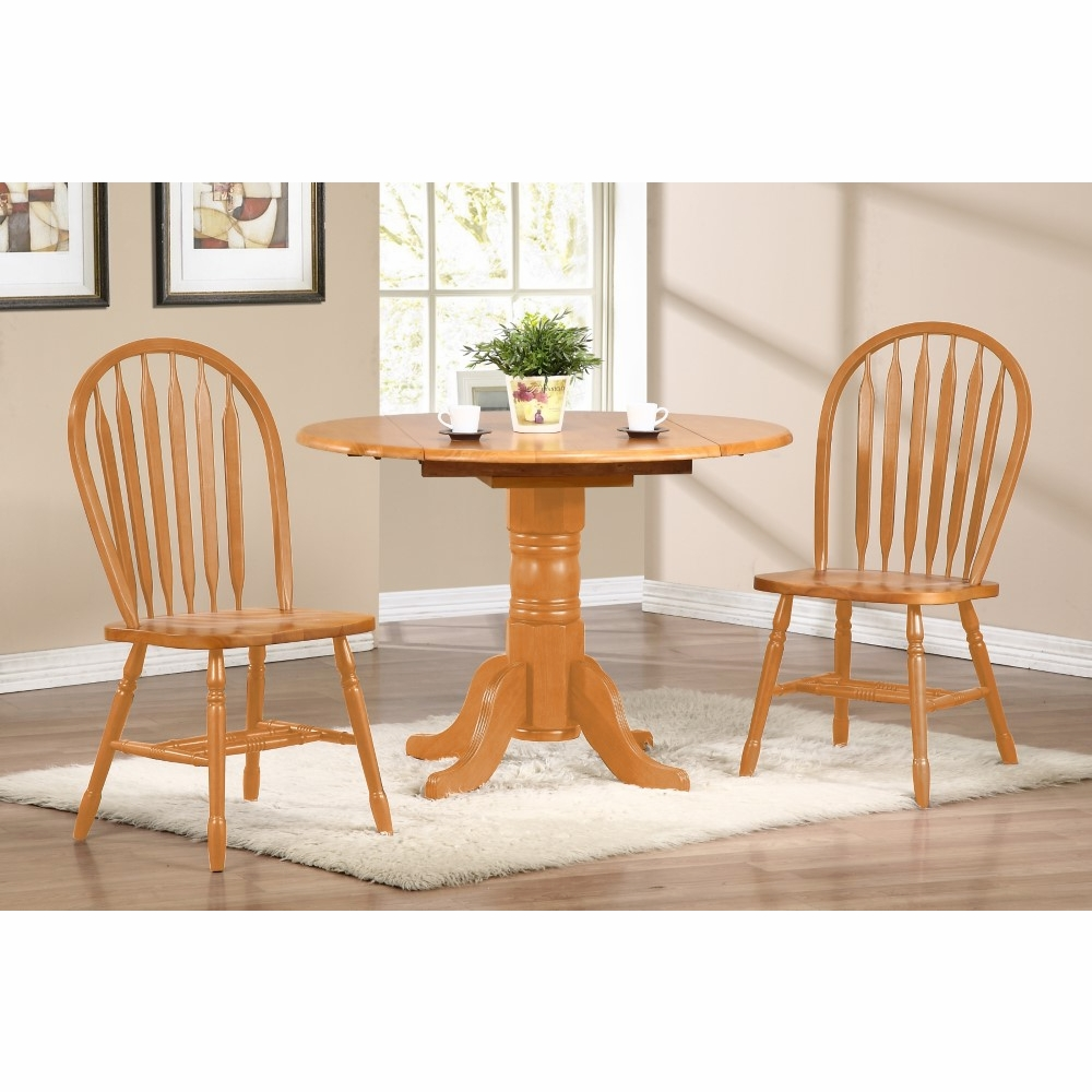 3 Piece 42 Round Drop Leaf Dining Set