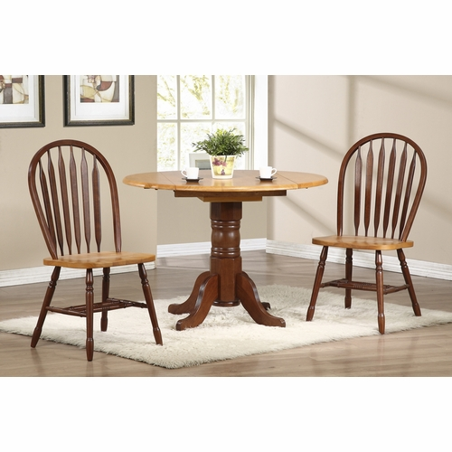 "Sunset Trading - 3 Piece 42"" Round Drop Leaf Dining Set with Arrowback Chairs  - DLU-TPD4242-820-NLO3PC"