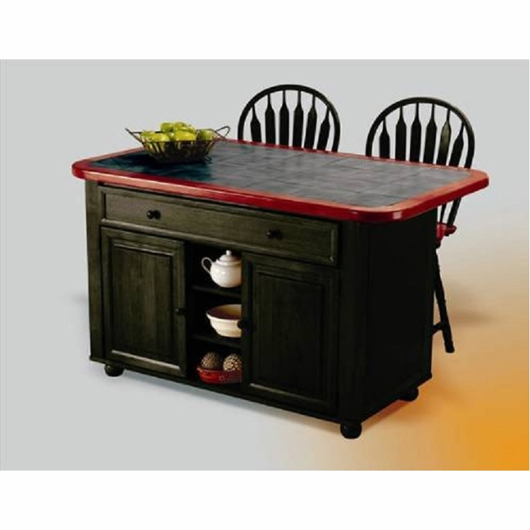 Sunset Trading - 3 Piece Antique Black Kitchen Island Set with Inlaid Granite Top - CY-KITT02-B24-AB3PC
