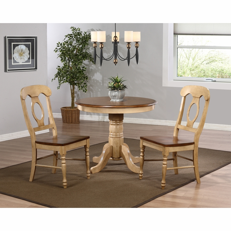 "Sunset Trading - 3 Piece Brook 36"" Round Dining Set with Napoleon Chairs    - DLU-BR3636-C50-PW3PC"