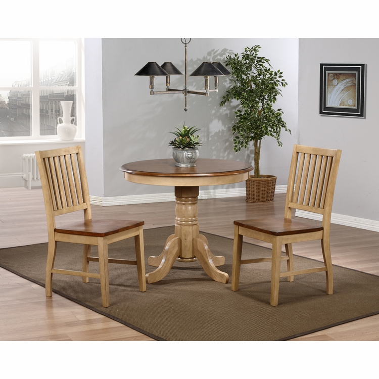 "Sunset Trading - 3 Piece Brook 36"" Round Dining Set with Slat Back Chairs - DLU-BR3636-C60-PW3PC"