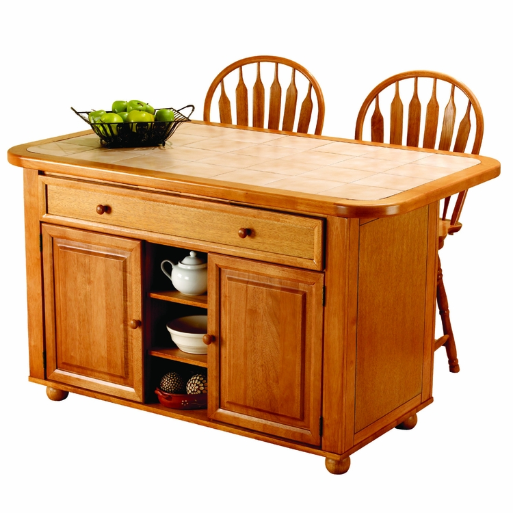 Sunset Trading - 3 Piece Light Oak Kitchen Island Set with Beige Khaki Tile Top   - CY-KITT02-B24-LO3PC